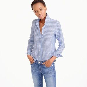 New❗️Jcrew Stripe Cotton-linen Boy Shirt 2Tall